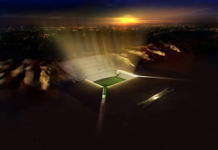 صورة لأول مرة في العالم .. استاد رياضي تحت رمال الصحراء
