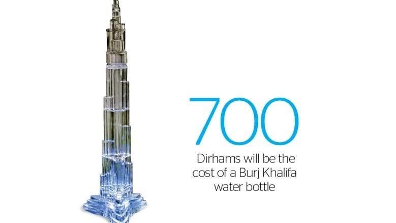زجاجات مياه ضخمة فاخرة بتصميم مستوحى من برج خليفة