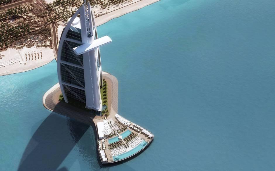نظرة على جزيرة تراس برج العرب في دبي