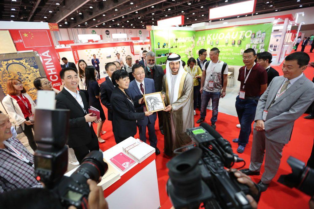 سعادة جمعة محمد الكيت الوكيل المساعد لقطاع التجارة الخارجية بوزارة الاقتصاد لدى افتتاحه للمعرض العام الماضي