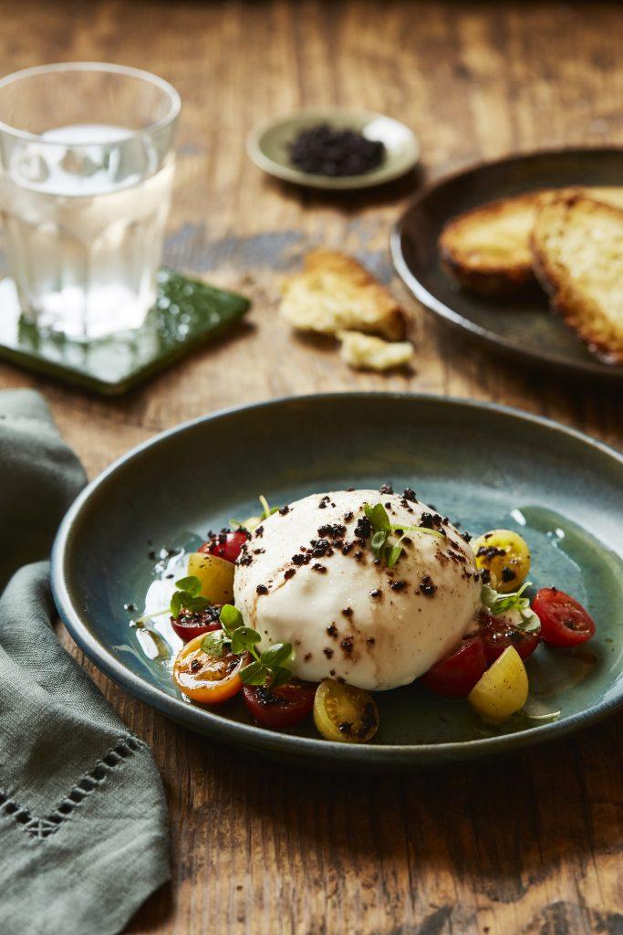 Trattoria new menu-Burrata, pomodorini misti, olive taggiasche