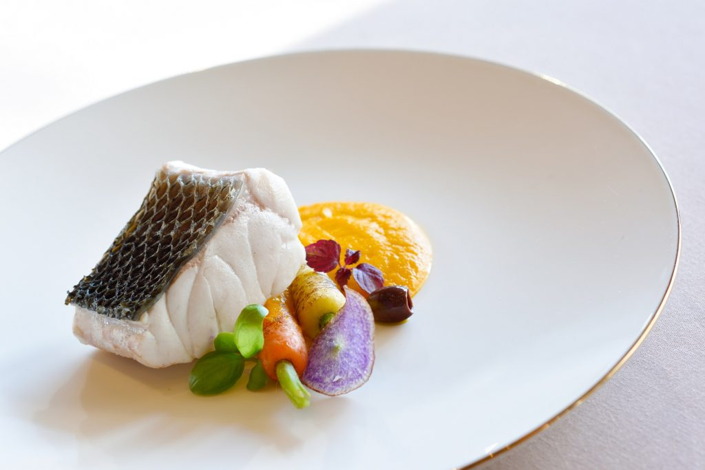 Armani Ristorante – Christmas – Steamed sea bass fillet, carrot, lemon confit and capers powder (1)