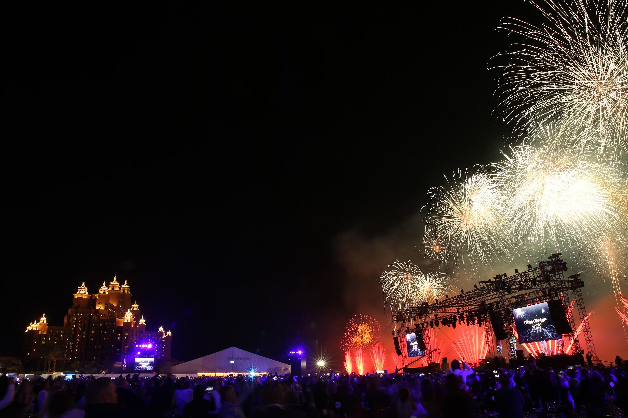 الإحتفالات في منتجع أتلانتس النخلة