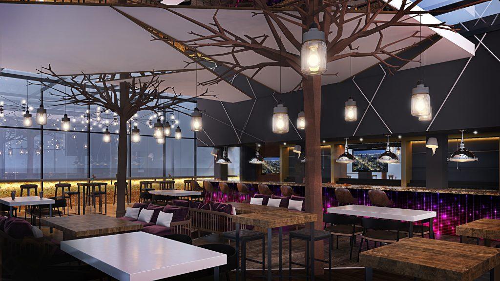 مطعم أب آند بيلو في فندق كورت يارد ماريوت المركز التجاري العالمي أبوظبي