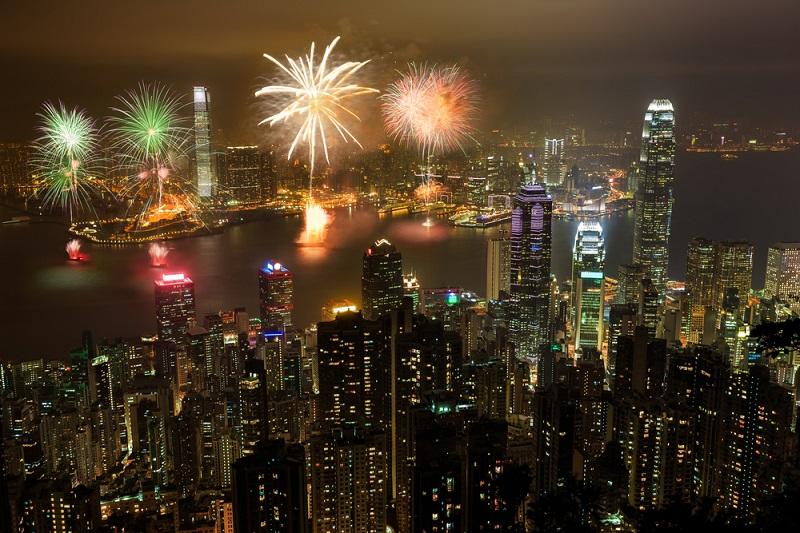 عروض الألعاب النارية في هونج كونج