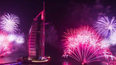 Photo of عروض الألعاب النارية في برج العرب احتفالاً برأس السنة 2019