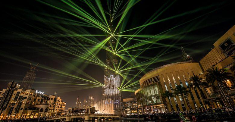 استمرار عروض الليزر والأضواء في برج خليفة لنهاية مارس 2019