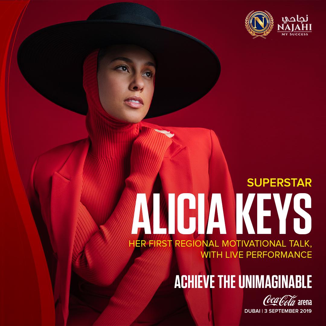 المغنية أليشيا كيز تستعد للمشاركة في فعالية تحقيق ما يفوق الخيال بدبي