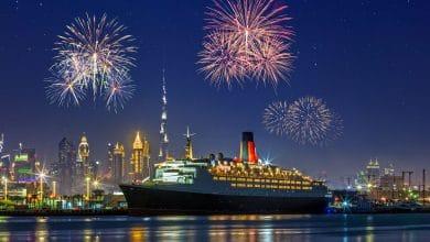 صورة عروض سفينة الملكة إليزابيث 2 إحتفالاً برأس السنة 2020