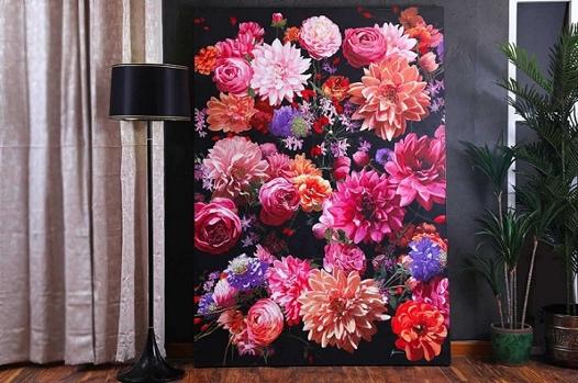 لوحة الزهور كانفس رسم يدوي